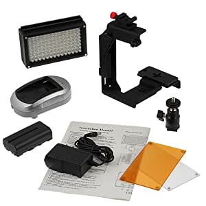 Fotodiox Pro LED 98A with Video Lighting Bracket, Photo / Video Dimmable LED Light Kit, Sony Type Battery, Color Temperature 5600K, + Tungsten Gel