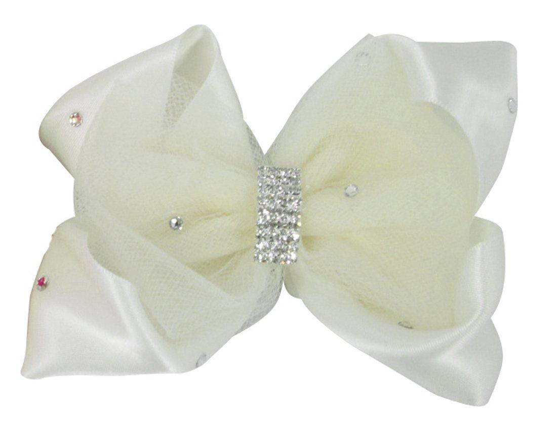 Flower Girl Hair Bow, Ivory Customizable Tulle Satin Hair Wedding Clip with Swarovski Rhinestones