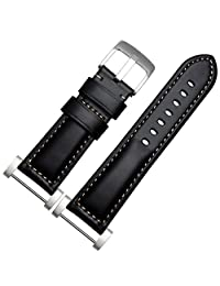 Welcomeuni FASHION 24MM Leather Watch Replacement Band Strap + Lugs Adapters For Suunto Core (BK)