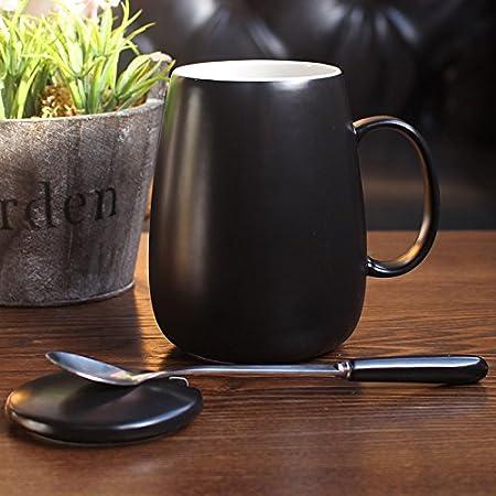 Yomiokla Mark Jarra de cerámica con tapa, cuchara de café con leche desayuno taza chica encantadora tazón de agua minimalista, luz pulpo amarillo: ...