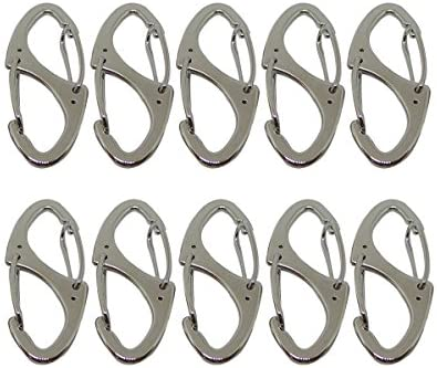 Bytiyar Small Metal Carabiner Clips Dual Spring Wire Gate Snap Hooks Keychain Buckle Tool Silver Black