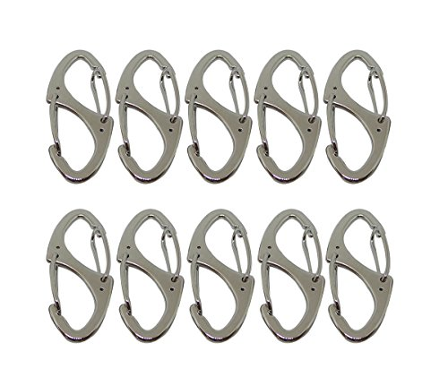 Bytiyar 10 PCS Small Metal Carabiner Clips Dual Spring Wire Gate Snap Hooks Keychain Buckle Tool, Silver
