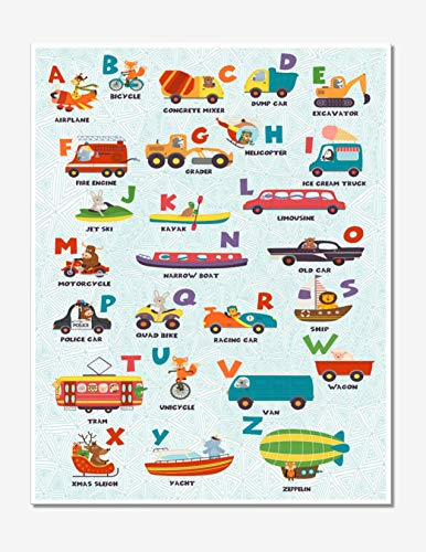 Alphabet Animal Wall Art - Transportation Poster (Set of 1) 11x14 - Unframed ()