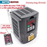 Davitu Motor Controller - 3KW 4HP Variable Frequency Drive VFD Inverter 220V speed controller&2M Extension cable&Plastic holder