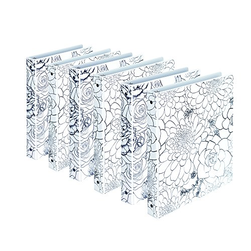 Samsill Fashion Design 3 Ring Binders, Floral Pattern Coloring Binder, 1 Inch Round Rings, Assorted Colors , Bulk Binders - 6 Pack