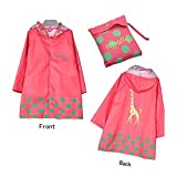 Vkenis Waterproof Cartoon Children's Raincoat for Kids Aged 4-12 (S, Pink)