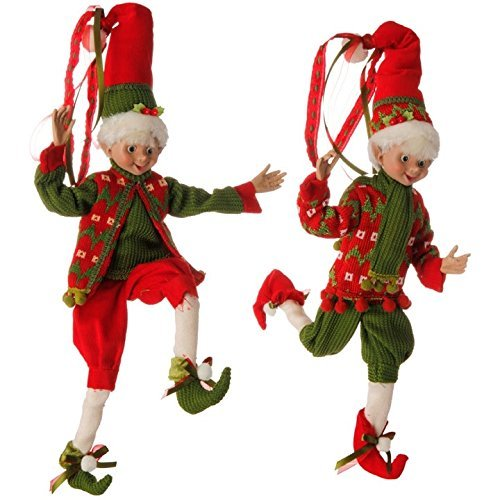16'' Red and Green Holly Posable Elf Set