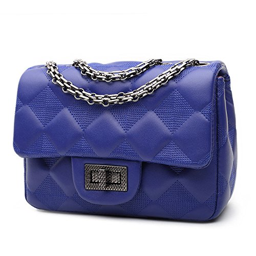 Womens Lock Shoulder Bag Quilted Womens Quilted Royalblue Twist 78qnT1dWw