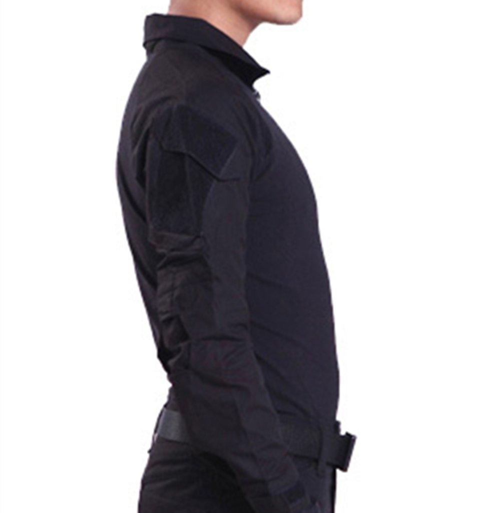 haoYK Militaire Paintball BDU Manches Longues Airsoft Chemise Camo Tactique Chemises avec Coudi/ères Noir