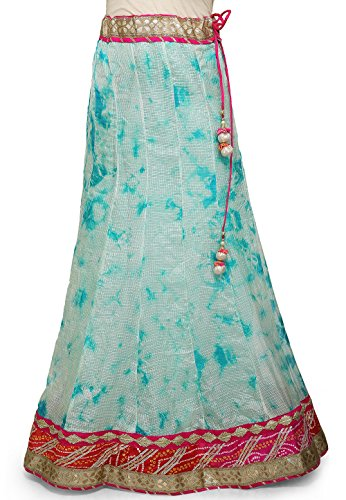 Utsav Fashion Tie Dye Pure Kota Silk Skirt in Pastel Blue