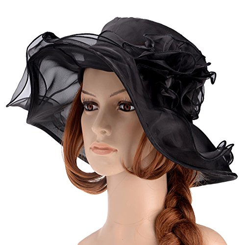8bd2ebc5be6ba ... Womens Kentucky Derby Hats Summer Wide Brim Sun Hat Flower Fascinator  Hat Tea Party Wedding Hats. by vbiger. Color  Black. product-variation.  product- ...