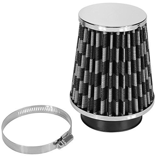 RINTOWA Automotive Induction Air Filter,3inch Inlet (76mm) Car High Flow Cold Air Filter Intake High Power Mesh Cone (Black) ()