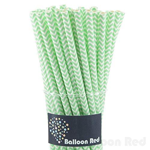 Biodegradable Paper Drinking Straws (Premium Quality), Pack of 50, Chervon - Light Green