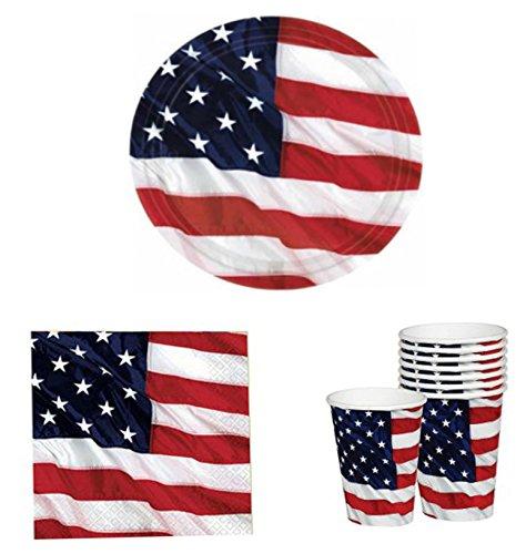Patriotic Flying Colors - Patriotic Flying Colors - Plates - Napkins - Cups - 46 Piece Set (Serves 15)