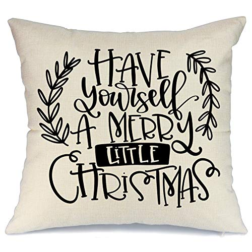 AENEY Christmas Pillow Cover 18x18 for Couch Have Yourself with a Marry Little Christmas Throw Pillow Farmhouse Decorations Home Decor Xmas Decorative Pillowcase Faux Linen Cushion Case Sofa