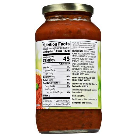 Great Value Organic Tomato Basil Pasta Sauce, 23.5 oz,Pack of 6