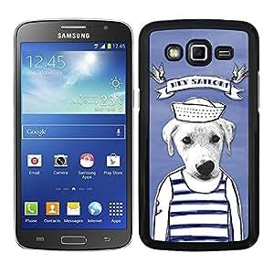 Funda carcasa para Samsung Galaxy Grand 2 diseño dibujo perro hey sailor marinero borde negro
