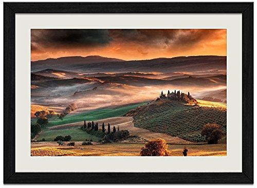 Landscape Nature Tuscany Valley - Art Print Wall Black Wood