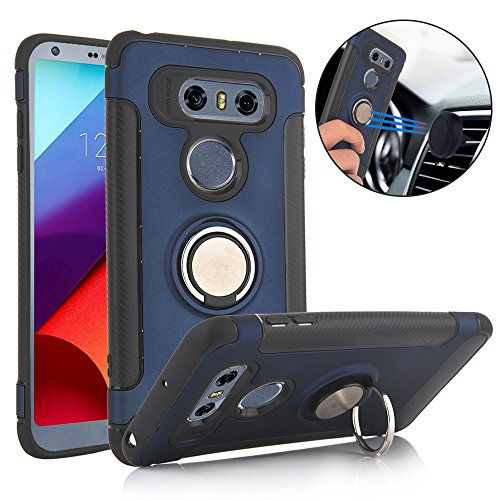 Price comparison product image TechVibe LG V30 Case, Slim Drop Protection Cover, Ring Grip Holder Stand, Back Magnetic Circle With Air Vent Magnetic Car Vent Mount For LG V30 (2017) - Metallic Blue