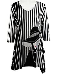 Valentina Signa - Striped Silhouette, 3/4 Sleeve Sharkbite Tunic Rhinestone Accent