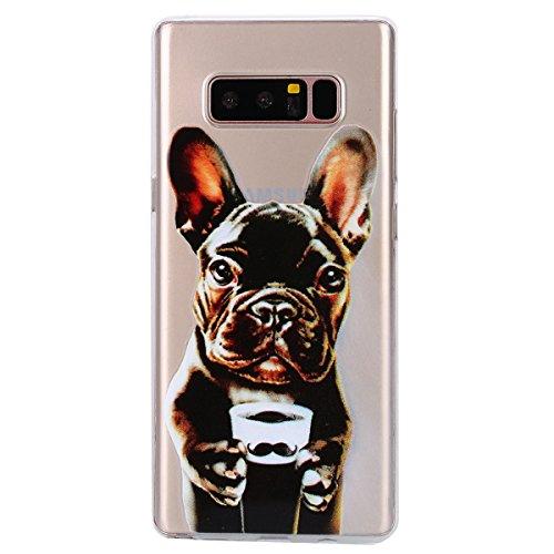 EUWLY Carcasa para Samsung Galaxy Note 8, Funda Samsung Galaxy Note 8 Silicona Transparente, Ultra Delgado Ligera Suave Carcasa Case Alta Calidad Claro Como el Cristal Silicona TPU Gel Goma Funda Cubi Perro