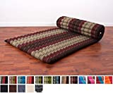 Leewadee Roll Up Thai Mattress, 79x30x2 inches, Kapok Fabric, Brown Red, Premium Double Stitched