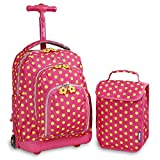 J World New York Kids' Lollipop Rolling Backpack with Lunch Bag, PINK BUTTONS