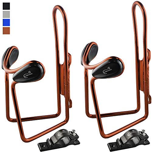 Lumintrail 2 Pack Bike Bottle Holders w/Handlebar Mount Adapter Lightweight Aluminum Alloy Bicycle Water cage (Red)