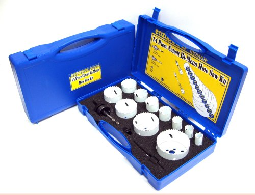 Eazypower 82440 14-Piece Cobalt Bi-Metal Hole Saw Kit 3/4-Inch-3-Inch Includes 2 Mandrels, Adapter and Spare Pilot Drill in Plastic Storage Case by Eazypower