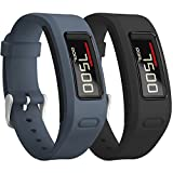 SKYLET Garmin Vivofit Bands, Colorful Silicone Replacement Band for Garmin Vivofit 1 Wristband with Metal Buckle (No Tracker)[2PC: Slate&Black]