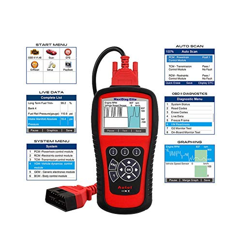 Autel Professional Scan Tool MaxiDiag Elite MD802, OBD2 Car Code Reader for All Systems, Car Diagnostic Scanner for All Electronic Modules (Engine, Transmission, ABS, Airbag), EPB, Oil Service by Autel (Image #1)