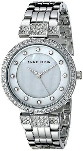 Anne klein womens ak 1853mpsv swarovski crystal accented silver tone bracelet watch 11street for Anne klein swarovski crystals