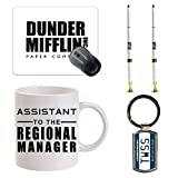 BleuReign(TM) Funny Dunder Mifflin Office Desk Bundle Set - Square Mouse Pad, Set of 2 Pens with Base, Assistant to the Regional Manager 11oz Ceramic Coffee Mug and That's What She Said Metal Keychain