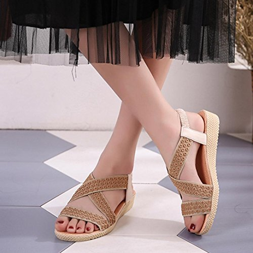 Amlaiworld Ladies Sandals,Sexy Summer Ladies Women Sandals Fashion Cross Flat Roman Shoes Casual Shoes Beige