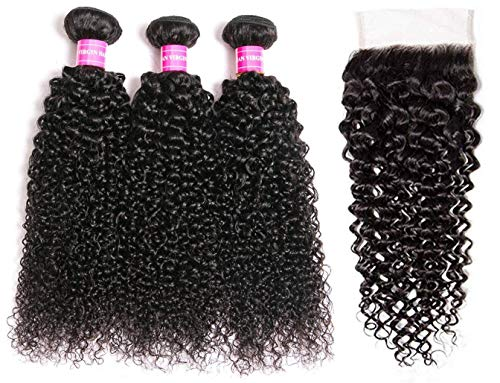 Brazilian Virgin Curly Hair Weave 3 Bundles with Lace Closure Free Part 4x4 8A 100% Unprocessed Brazilian Kinky Curly Human Hair Bundles With Lace Closure Natural Color (18 20 22+16')