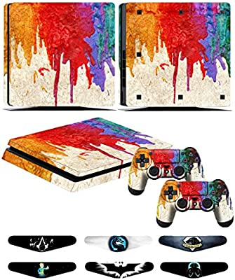 Skins Stickers for PS4 Slim Controller - Decals for Playstation 4 Slim Games - Cover for PS4 Slim Console Sony Playstation Four Accessories with Dualshock 4 Two Controllers Skin - Paint: Amazon.es: Videojuegos