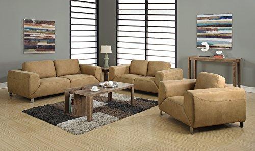 Monarch Specialties Contrast Micro-Suede Sofa, Tan/Chocolate Brown