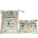 Damero 2pcs Pack Travel Baby Wet and Dry Cloth Diaper Organizer Bag, Jungle