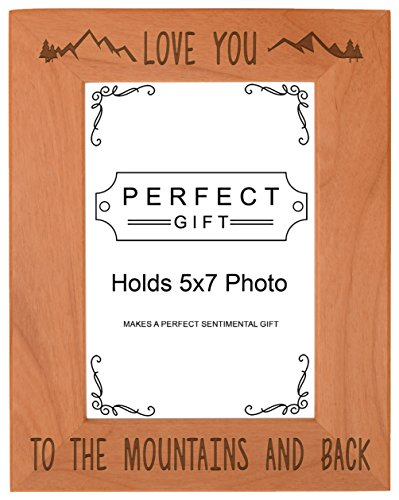 ThisWear Mountain Gift Love You to The Mountains Back Frame Wood Engraved 5x7 Portrait Picture Frame