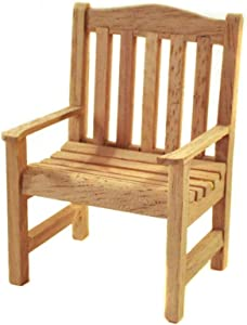 Melody Jane Dollhouse Bare Wood Garden Chair Miniature Wooden Unfinished Patio Furniture
