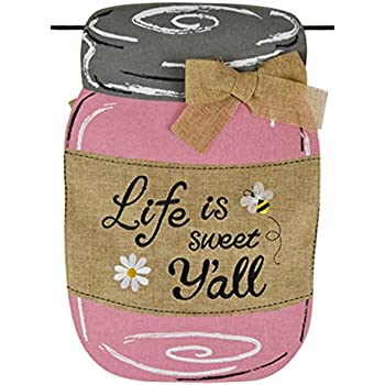 Amazon.com : Home Garden Flags Pink Mason Jar Life Is Sweet Yall ...