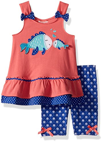 Nannette Toddler Girls' 2 Piece Playwear Bike Short Set, Medium Coral, 2T