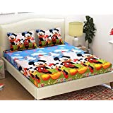 KIHOME Microfiber 3D Disney Micky Mouse 144TC Double Bedsheet with 2 Pillow Covers- Multicolor