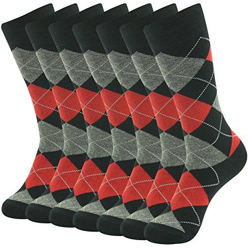 Custom Tube Socks - Wedding Dress Socks, SUTTOS Mens Womens Unisex Custom Elite Diamond Sharp Plaid Fashion Design Knee High Over-The-Calf Long Tube Casual Dress Novelty Socks, 7 Pairs