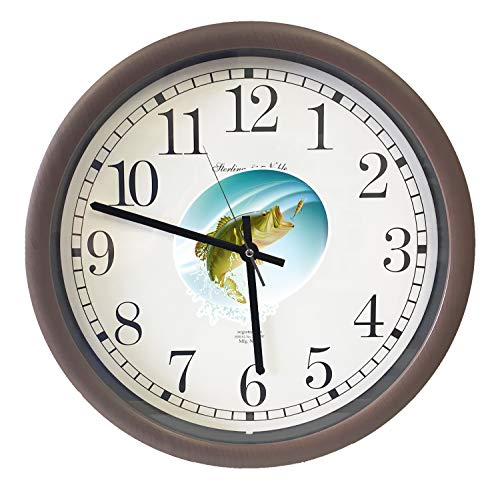 New Espresso/Cappuccino Finish Round Wall Hanging Clock Featuring Bass Fish Themed Logo