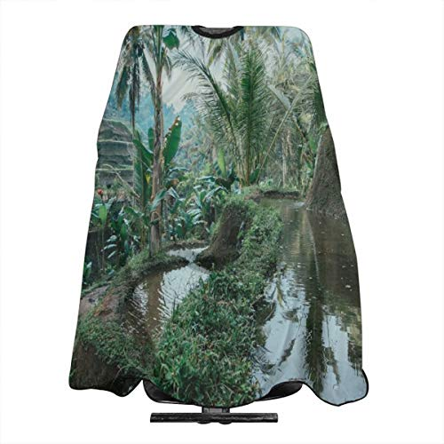 Bali Rice Paddy Terraces Barber Cape Haircut Gown Professional/Home Salon Hair Cutting Hairdressing Hairdresser Apron for Adult/Women/Men