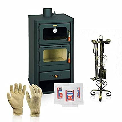 Estufa de leña Prity con horno, modelo FM y salida de calor 12