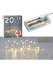 Łańcuch świetlny z mikroprzewodami, gwiazda, ciepła biel, srebrny, bateria, oświetlenie bożonarodzeniowe, timer