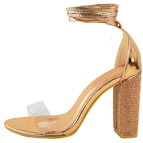 Metallic Party Heels Sparkle Clear Sandals Rose Perspex Gold Size Womens Ladies High Diamante Block COxwAq