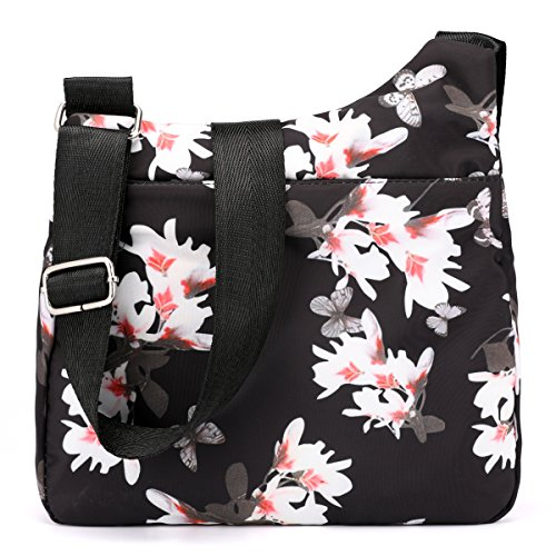 STUOYE Pocket Women Travel for Nylon Crossbody Shoulder Multi Magnolia Purse Bag Flower Bags ZEanxqZrpw